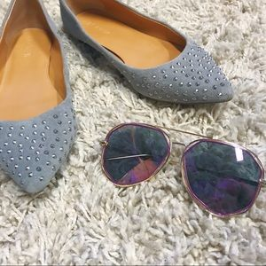 J Crew Amelia Pewter Pointed Studded Silver Flats